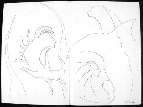 image of source sketch used in the base collage for Encounters: 45 by Ed Pas