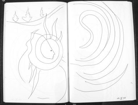 Image of original sketch for Ghost Trees 6: Vortex by Ed Pas