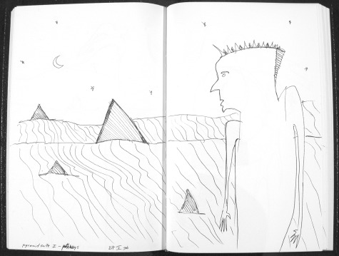 Image of original sketch for Pyramid Suite 1: Pathways by Ed Pas