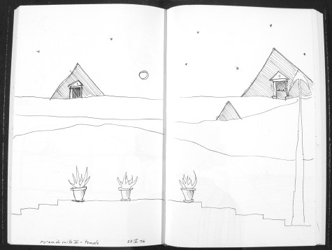 Image of original sketch for Pyramid Suite 5: Temple by Ed Pas