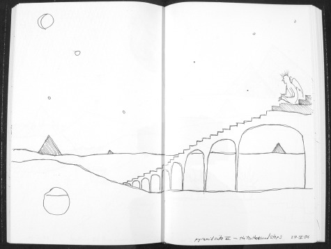 Image of original sketch for Pyramid Suite 6: The Ten Thousand Steps by Ed Pas