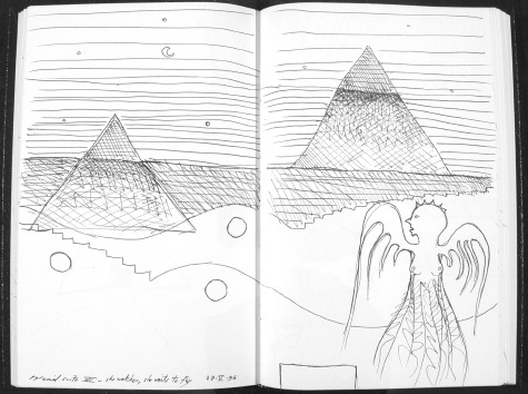 Image of original sketch for Pyramid Suite 8: She Watches, She Waits to Fly by Ed Pas