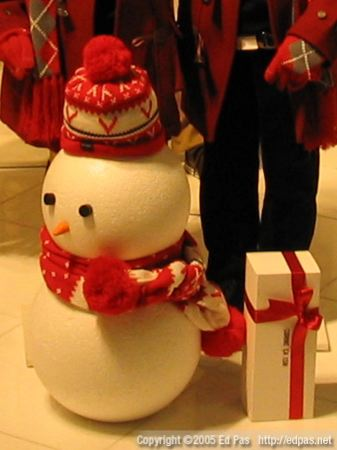 'red' snowman and xmas present