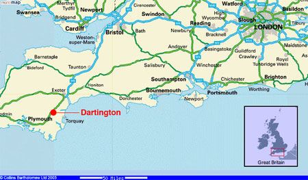 map of UK, showing the location of Dartington