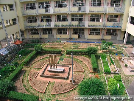 view of the school courtyard and garden