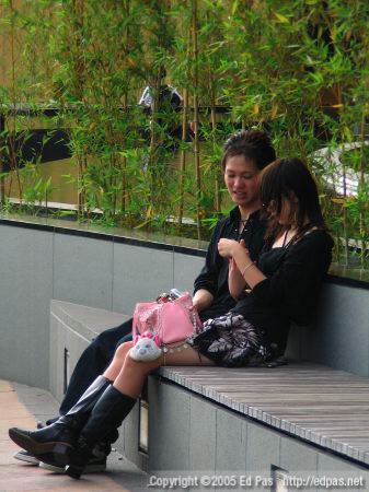 A young couple relaxing on the terrace