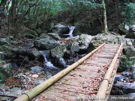 simple wooden bridge in a clearing above the final stage of Nanae Falls