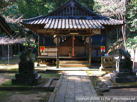 photo showing a pair of shishi (lion dogs) in their natural environment in front of a Shinto shrine