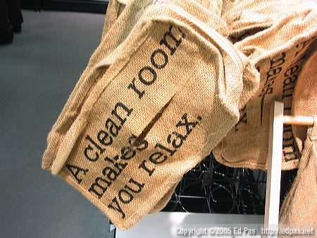 'A clean room makes you relax.' burlap tissue box cover