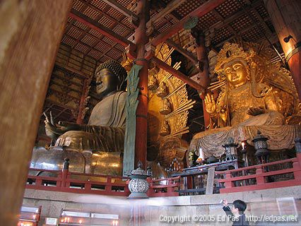 Daibutsu and another large statue inside Todaiji Temple, Nara
