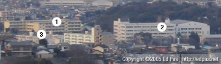 cropped and labelled view of Tobata from the art museum, with Tenraiji Elementary School and Tobata High School