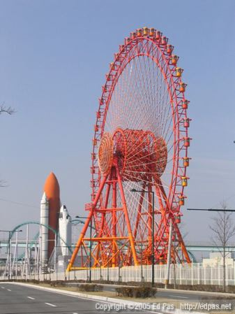 space shuttle and big wheel at Space World