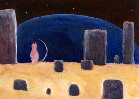 "untitled (celestial cat in a concrete ""stone circle"")"
